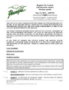 Regular City Council And Successor Agency Meeting Agenda May 12, :00 PM