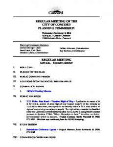 REGULAR MEETING OF THE CITY OF CONCORD PLANNING COMMISSION. REGULAR MEETING 6:30 p.m. Council Chamber