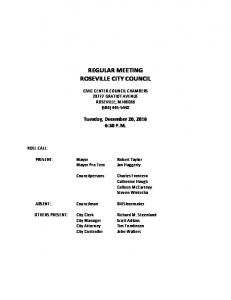 REGULAR MEETING ROSEVILLE CITY COUNCIL