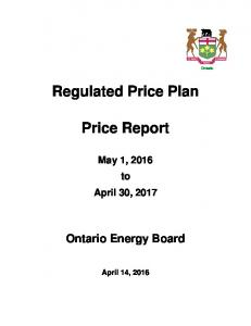 Regulated Price Plan. Price Report