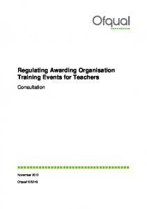 Regulating Awarding Organisation Training Events for Teachers