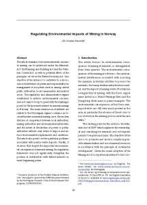 Regulating Environmental Impacts of Mining in Norway