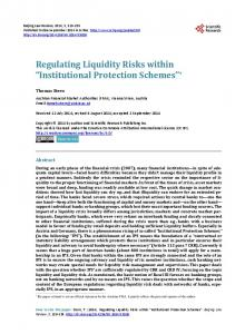 Regulating Liquidity Risks within Institutional Protection Schemes *