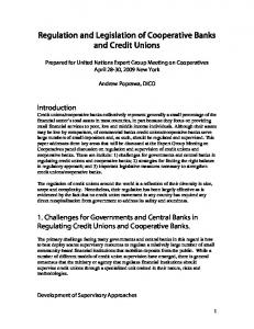 Regulation and Legislation of Cooperative Banks and Credit Unions