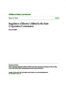 Regulation of Electric Utilities by the State Corporation Commission