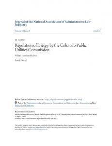 Regulation of Energy by the Colorado Public Utilities Commission