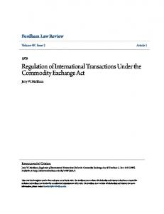 Regulation of International Transactions Under the Commodity Exchange Act