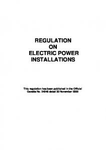 REGULATION ON ELECTRIC POWER INSTALLATIONS