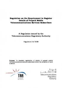 Regulation on the Requirement to Register Details of Prepaid Mobile Telecommunications Services Subscribers