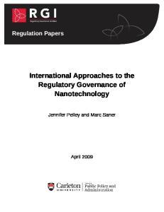 Regulation Papers International Approaches to the Regulatory Governance of Nanotechnology