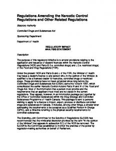 Regulations Amending the Narcotic Control Regulations and Other Related Regulations