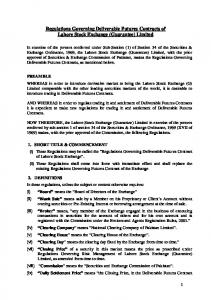 Regulations Governing Deliverable Futures Contracts of Lahore Stock Exchange (Guarantee) Limited
