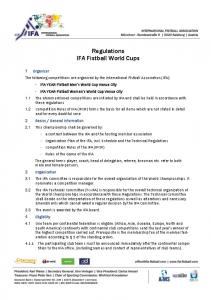 Regulations IFA Fistball World Cups