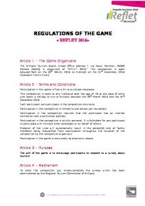 REGULATIONS OF THE GAME