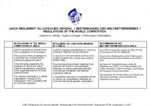 REGULATIONS OF THE WORLD COMPETITION