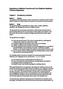Regulations on Radiation Protection and Use of Radiation (Radiation Protection Regulations)
