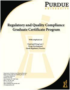Regulatory and Quality Compliance Graduate Certificate Program