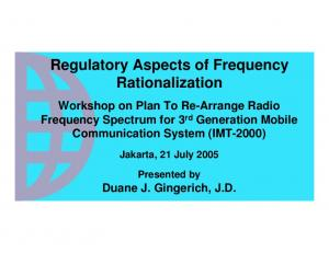 Regulatory Aspects of Frequency Rationalization
