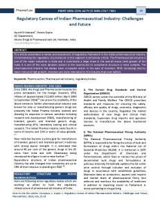 Regulatory Canvas of Indian Pharmaceutical Industry: Challenges and Future