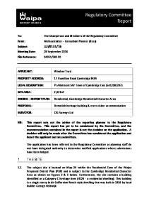 Regulatory Committee Report