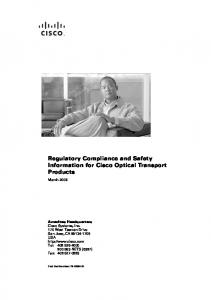 Regulatory Compliance and Safety Information for Cisco Optical Transport Products