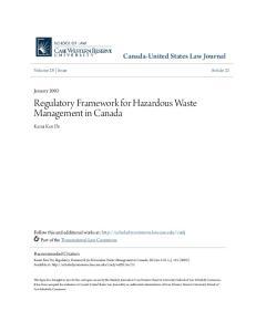 Regulatory Framework for Hazardous Waste Management in Canada