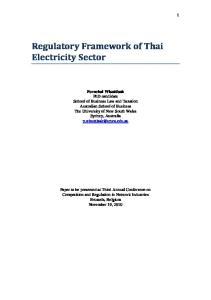 Regulatory Framework of Thai Electricity Sector