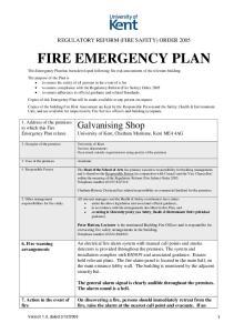REGULATORY REFORM (FIRE SAFETY) ORDER 2005 FIRE EMERGENCY PLAN
