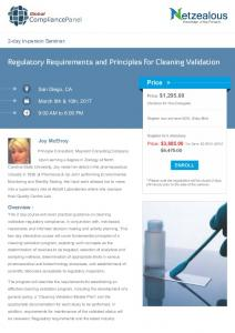 Regulatory Requirements and Principles for Cleaning Validation