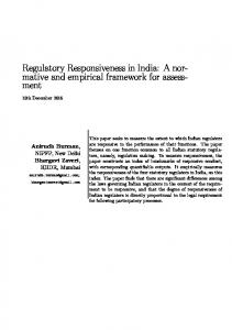 Regulatory Responsiveness in India: A normative and empirical framework for assessment