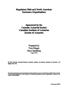Regulatory Risk and North American Insurance Organizations