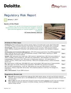 Regulatory Risk Report
