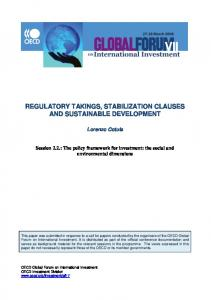 REGULATORY TAKINGS, STABILIZATION CLAUSES AND SUSTAINABLE DEVELOPMENT