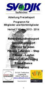 Reha-Gesundheitssport Gesundheitssport Fitness für jeden Fitness Aerobic Step Fitness Laufen Fitness Krafttraining Round Dance Steptanz