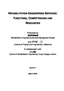 REHABILITATION ENGINEERING SERVICES: FUNCTIONS, COMPETENCIES AND RESOURCES