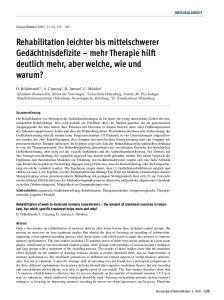 Rehabilitation leichter bis mittelschwerer Gedächtnisdefizite mehr Therapie hilft deutlich mehr, aber welche, wie und warum?
