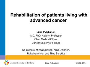 Rehabilitation of patients living with advanced cancer