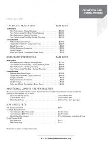 REHEARSAL FEES BOX OFFICE FEES. Effective July 1, 2013