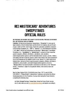 REI MASTERCARD ADVENTURES SWEEPSTAKES OFFICIAL RULES