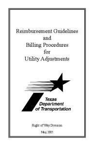 Reimbursement Guidelines and Billing Procedures for Utility Adjustments