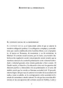 REINVENTAR LA DEMOCRACIA EL CONTRATO SOCIAL DE LA MODERNIDAD