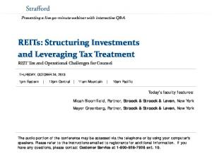 REITs: Structuring Investments and Leveraging Tax Treatment