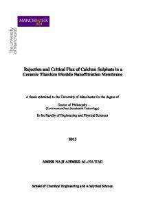 Rejection and Critical Flux of Calcium Sulphate in a Ceramic Titanium Dioxide Nanofiltration Membrane