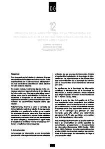 RELACION DE LA ARQUITECTURA DE LA TECNOLOGIA DE INFORMACION CON LA ESTRUCTURA ORGANIZATIVA EN EL SECTOR ASEGURADOR