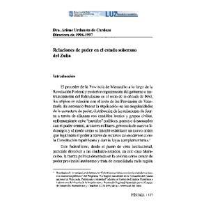 Relaciones de poder en el estado soberano del Zulia