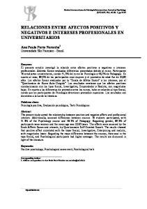 RELACIONES ENTRE AFECTOS POSITIVOS Y NEGATIVOS E INTERESES PROFESIONALES EN UNIVERSITARIOS