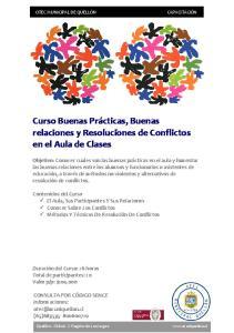 relaciones y Resoluciones de Conflictos en el Aula de Clases