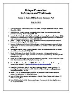 Relapse Prevention: References and Workbooks