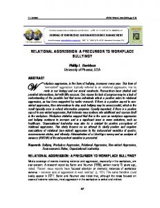 RELATIONAL AGGRESSION: A PRECURSOR TO WORKPLACE BULLYING?