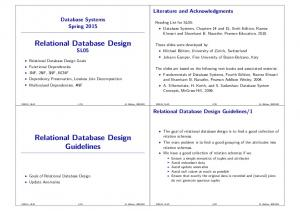 Relational Database Design SL05. Relational Database Design Guidelines. Literature and Acknowledgments. Database Systems Spring 2015